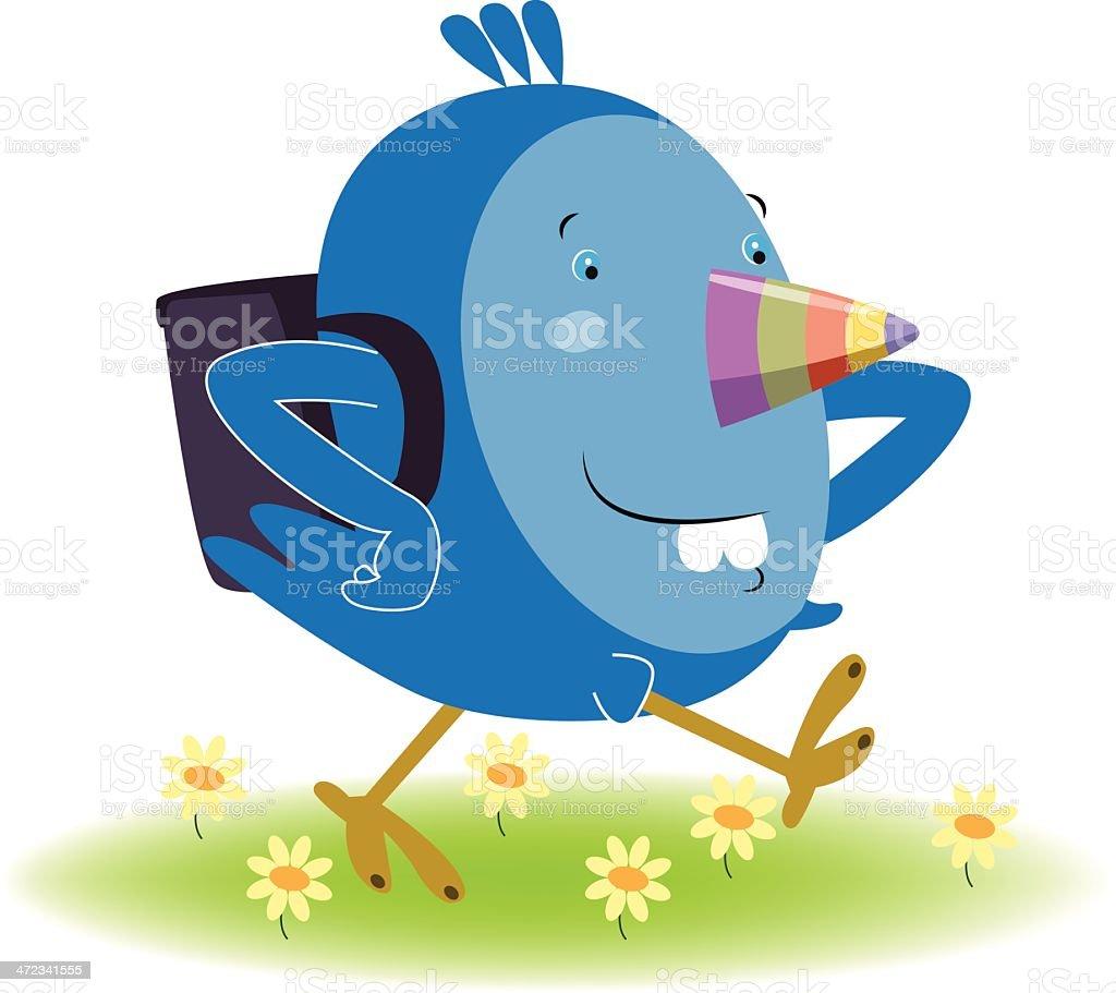 Blue Bird back to school royalty-free stock vector art