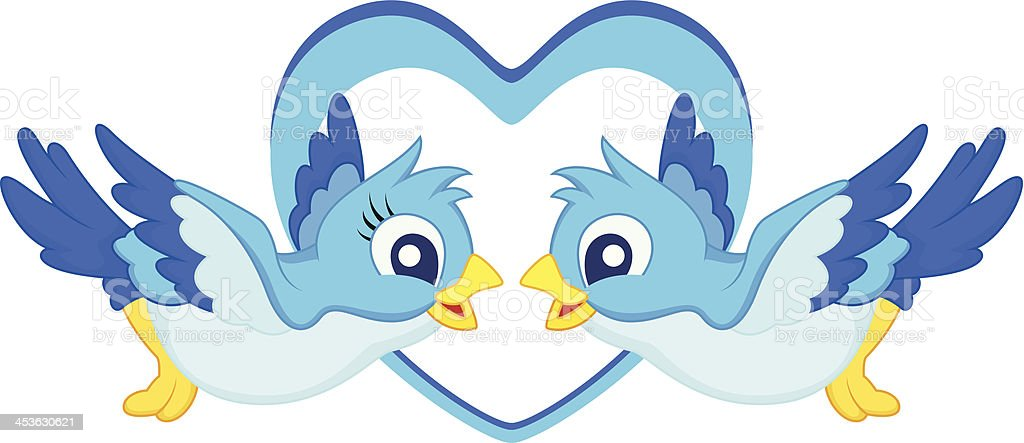Blue bird cartoon couple royalty-free stock vector art