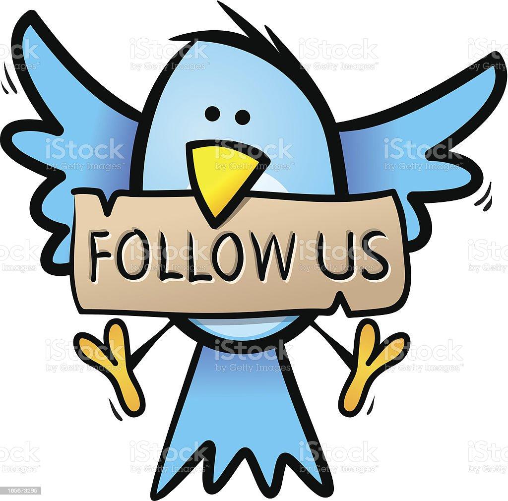 Blue Bird - Follow us royalty-free stock vector art