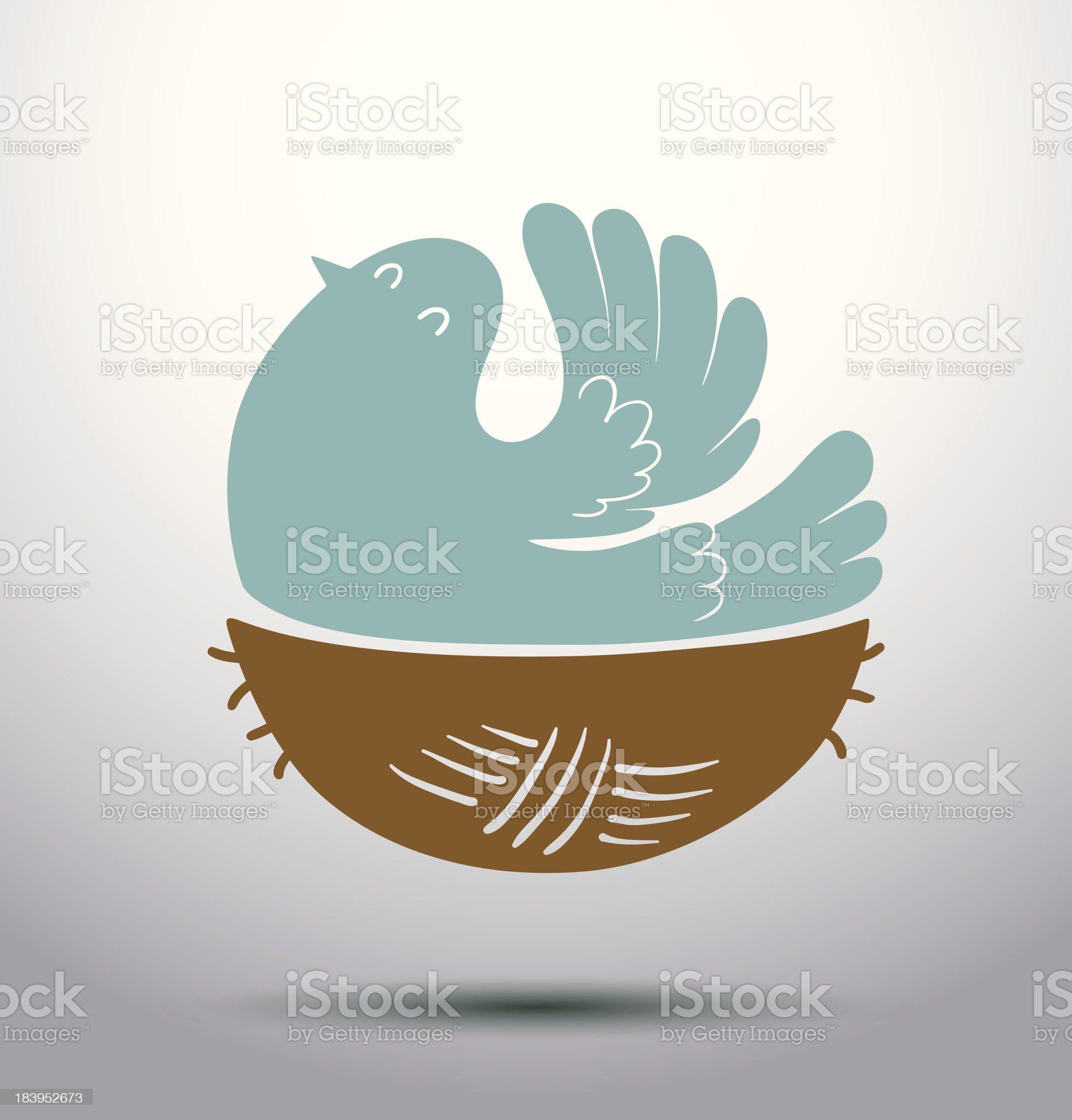 Blue bird in the nest royalty-free stock vector art