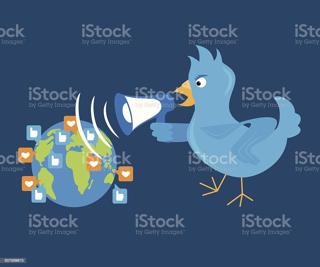 Blue bird is shouting through a megaphone on the planet vector art illustration