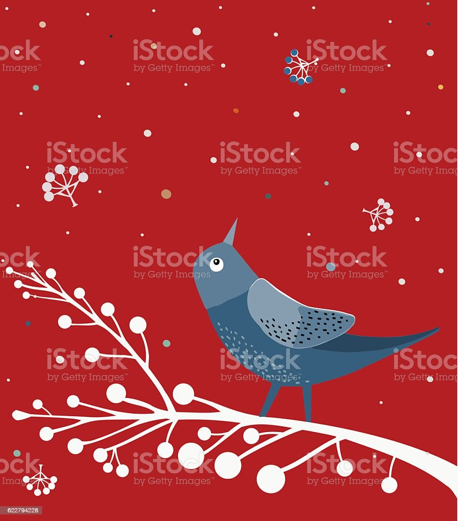 Blue Bird On White Branch , Red background vector art illustration
