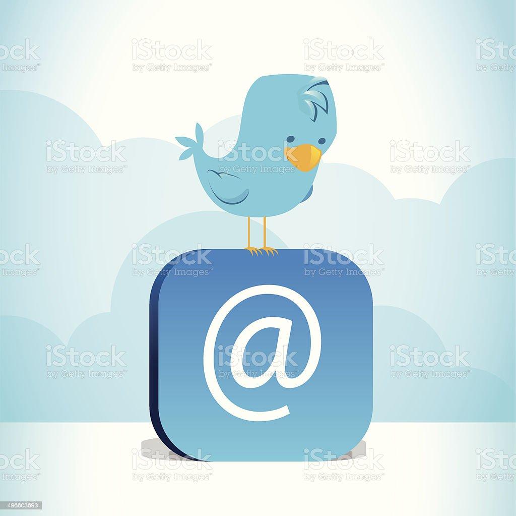 Blue bird perched on blue @ symbol vector art illustration