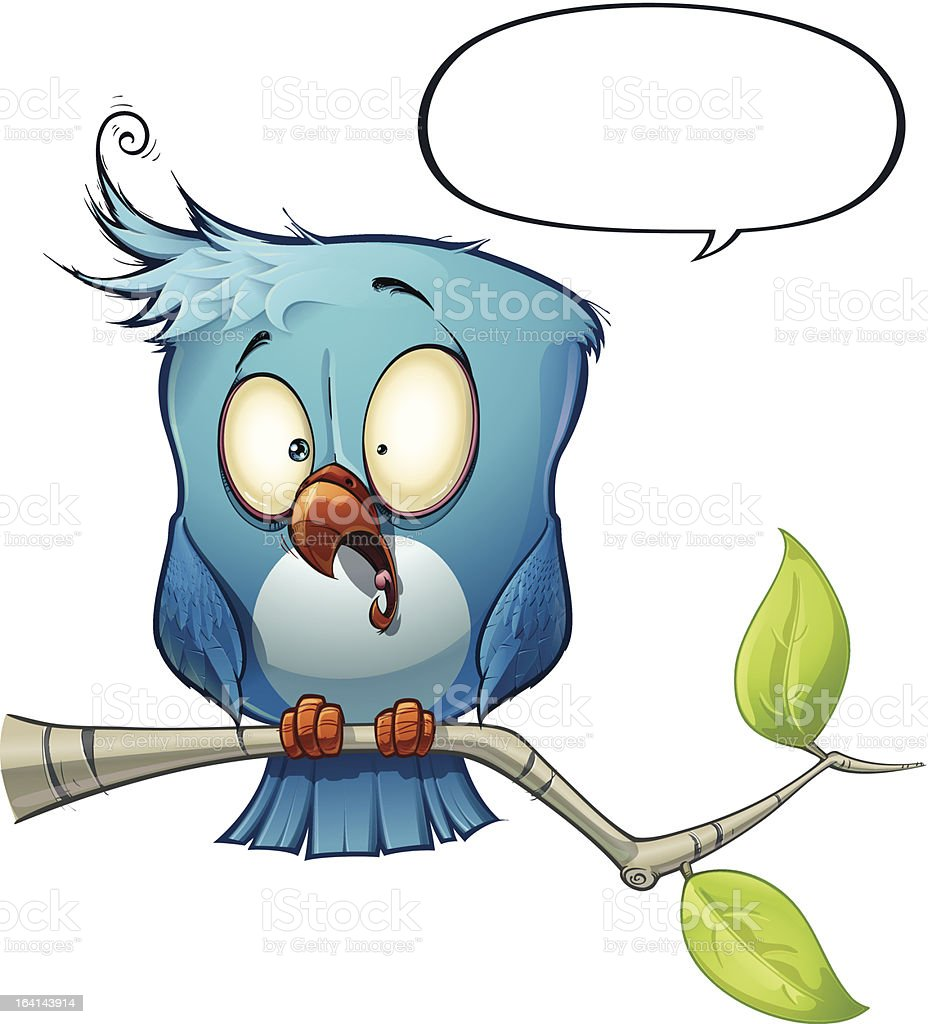 Blue Bird Shocked royalty-free stock vector art