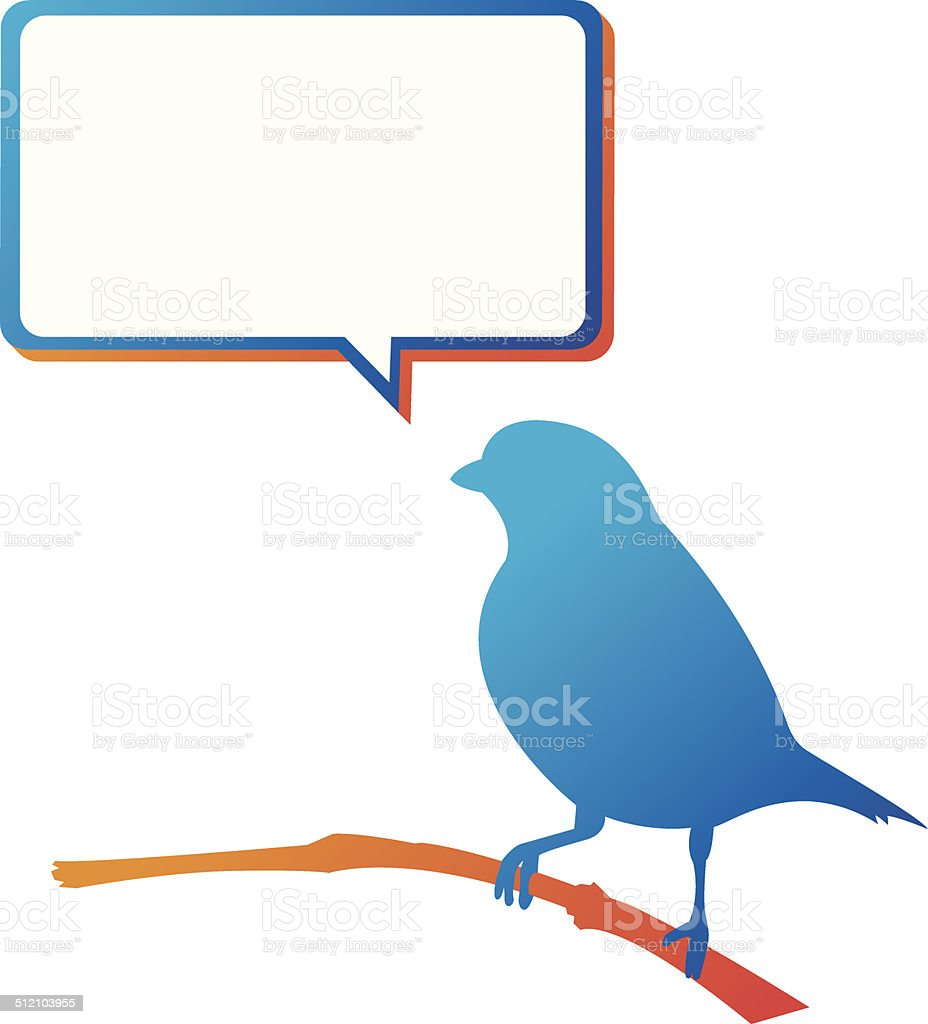 Blue Bird Speech Bubble vector art illustration