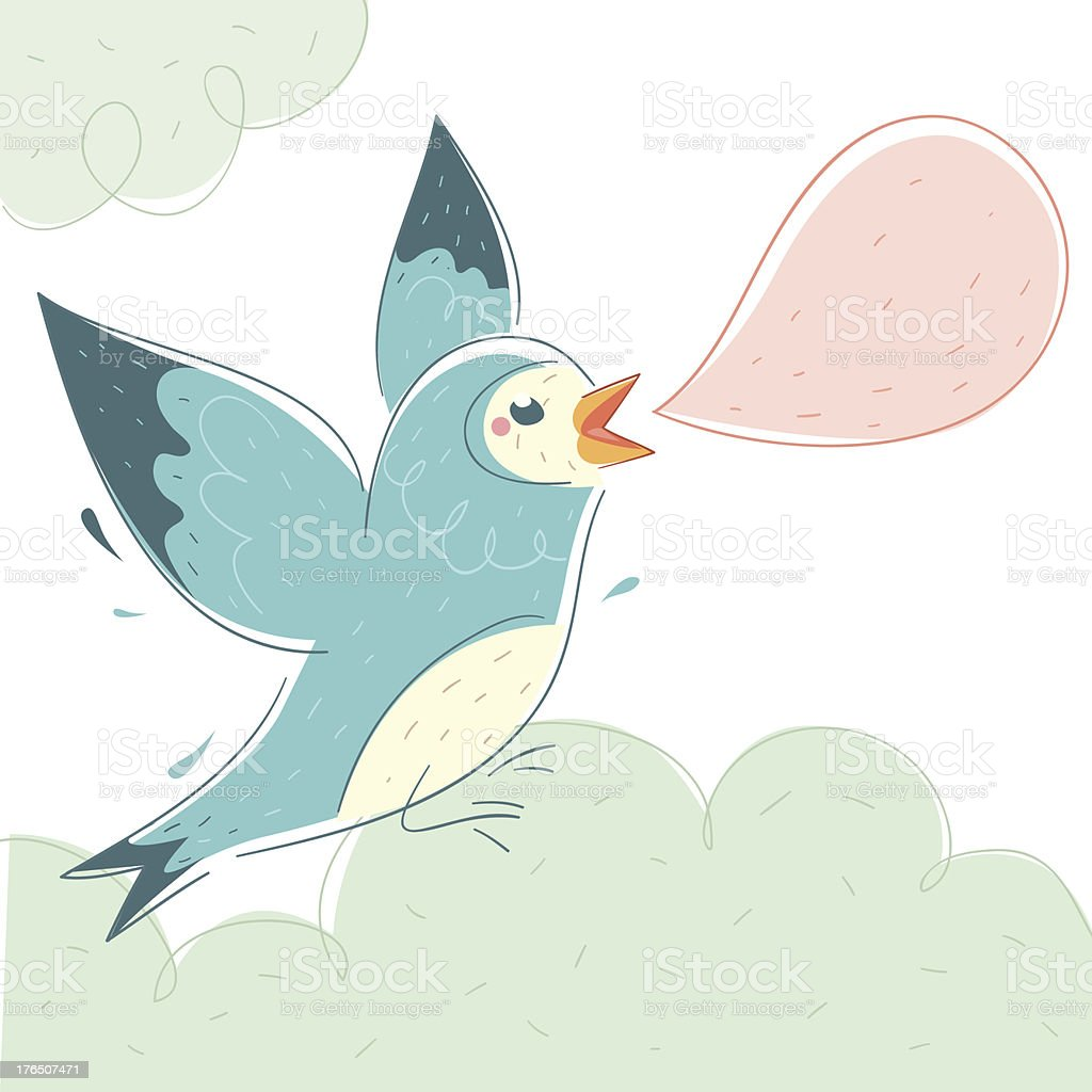 Blue Bird vector art illustration