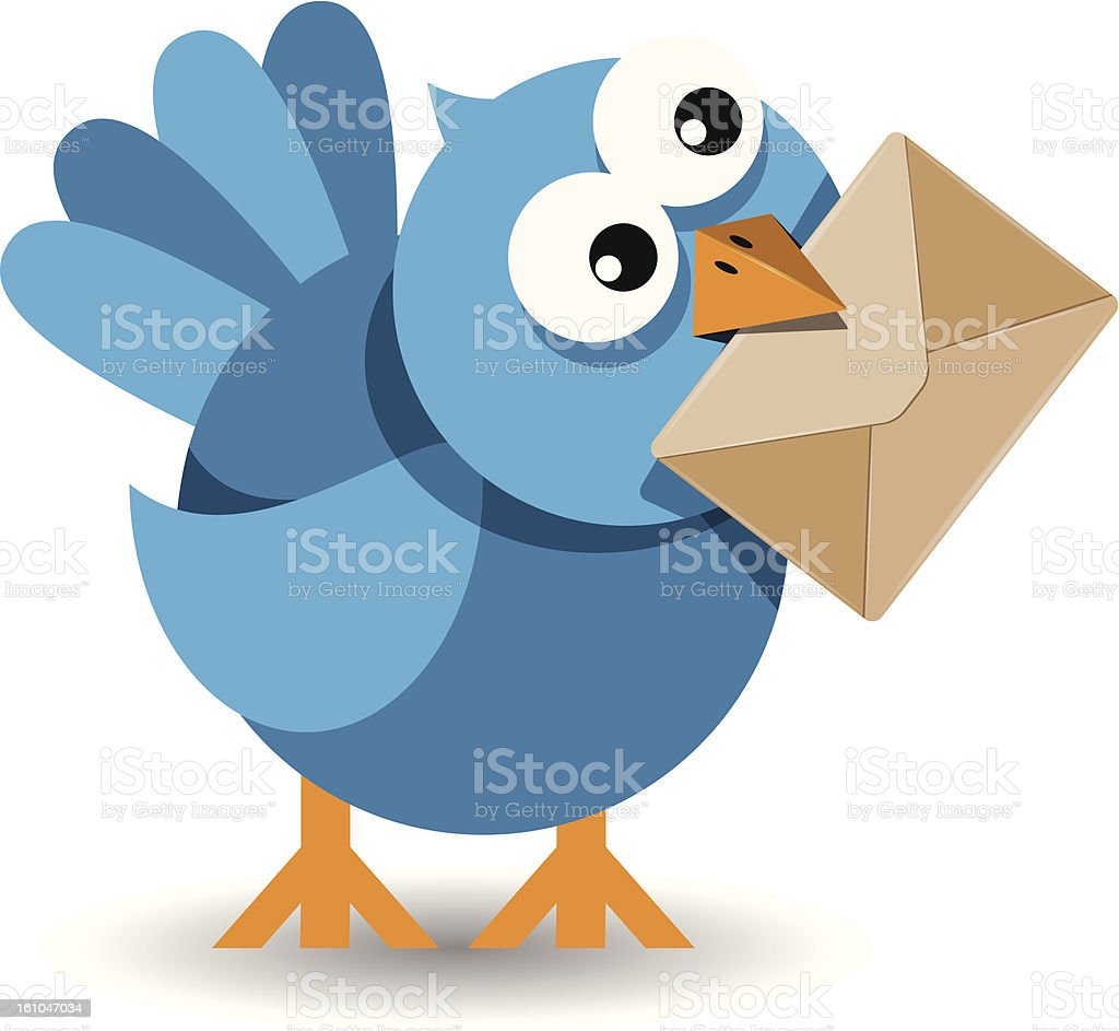 blue bird with a paper envelope royalty-free stock vector art