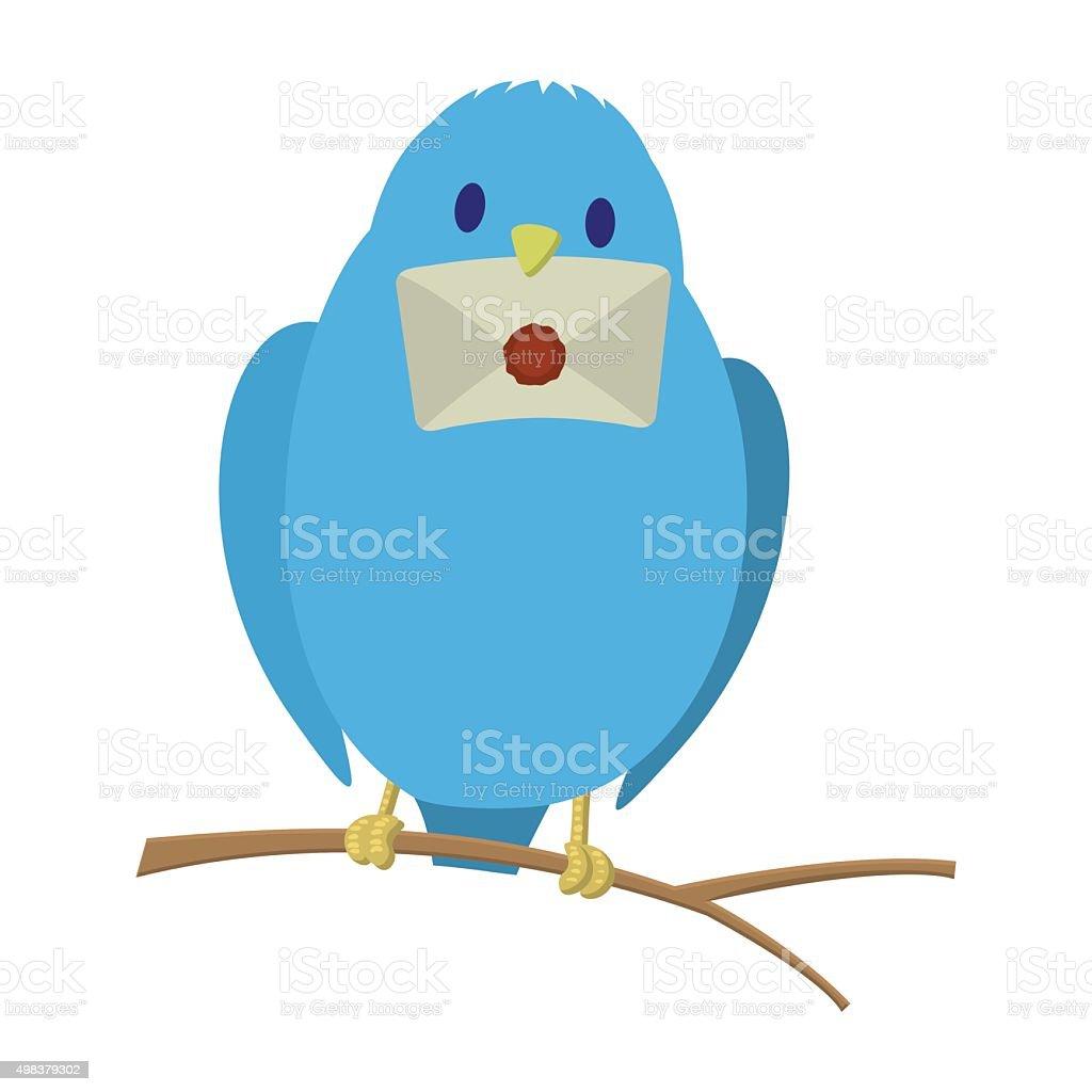 Blue bird with letter vector art illustration