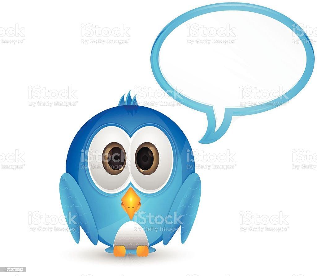 Blue bird with speech bubble vector art illustration