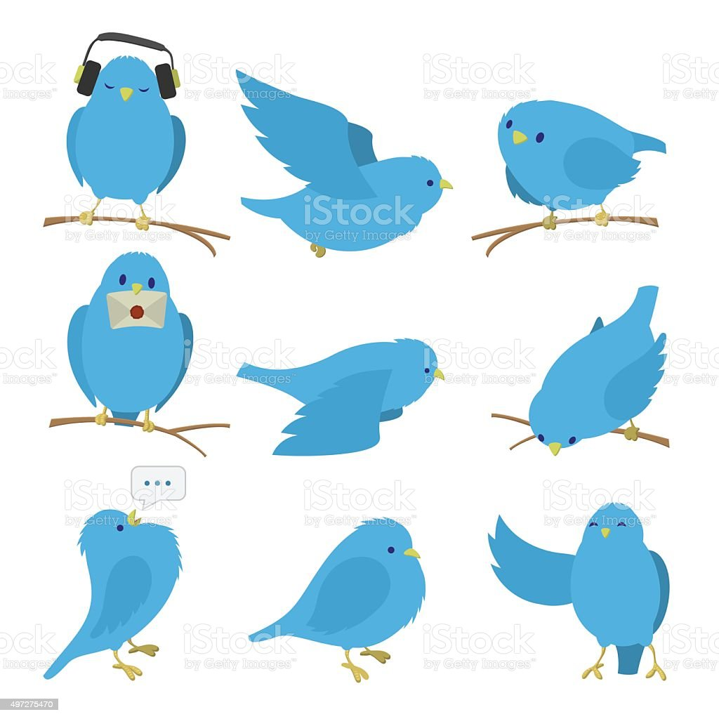 Blue birds set vector art illustration