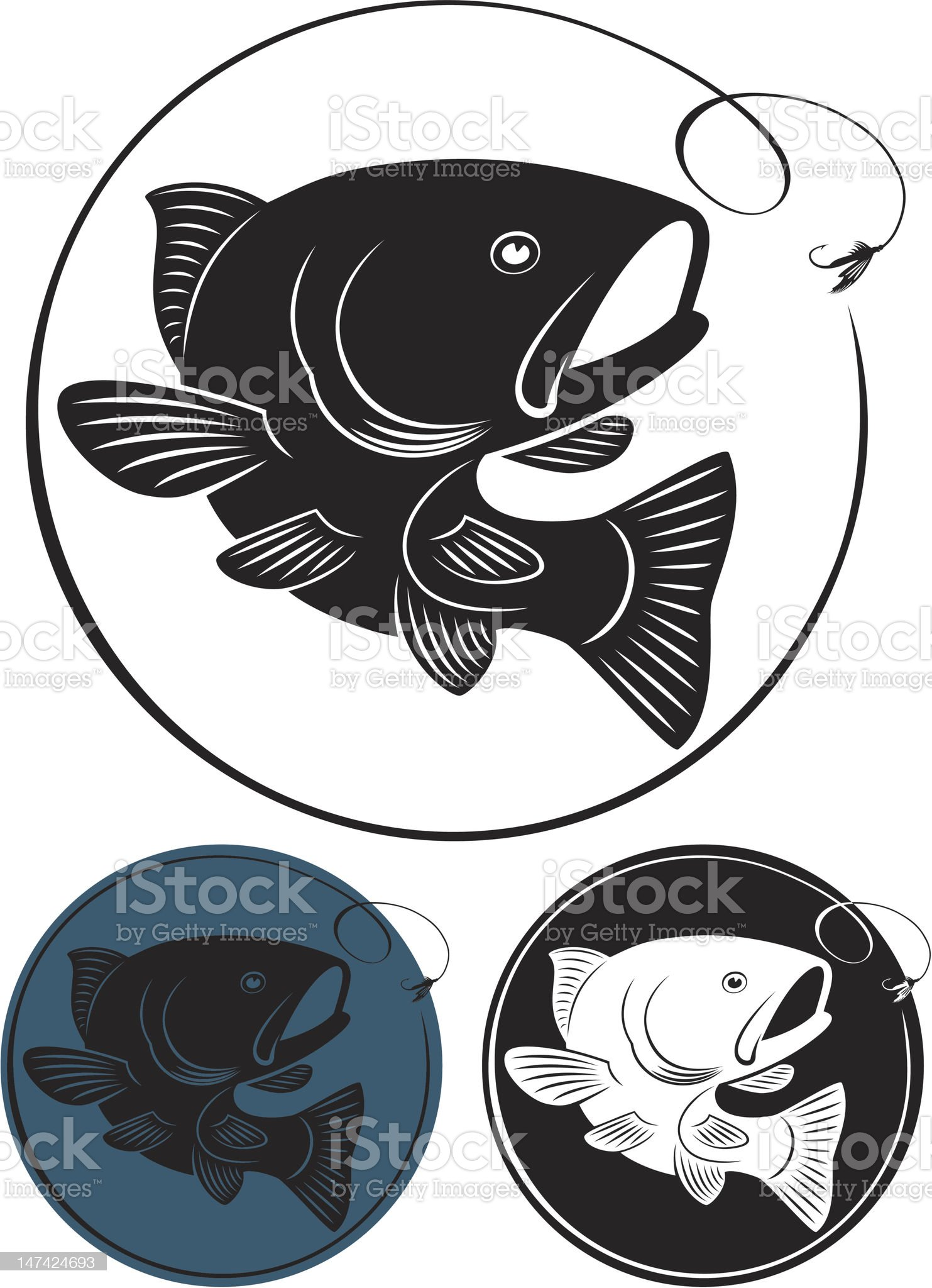 Blue, black and white circular trout illustration icons royalty-free stock vector art