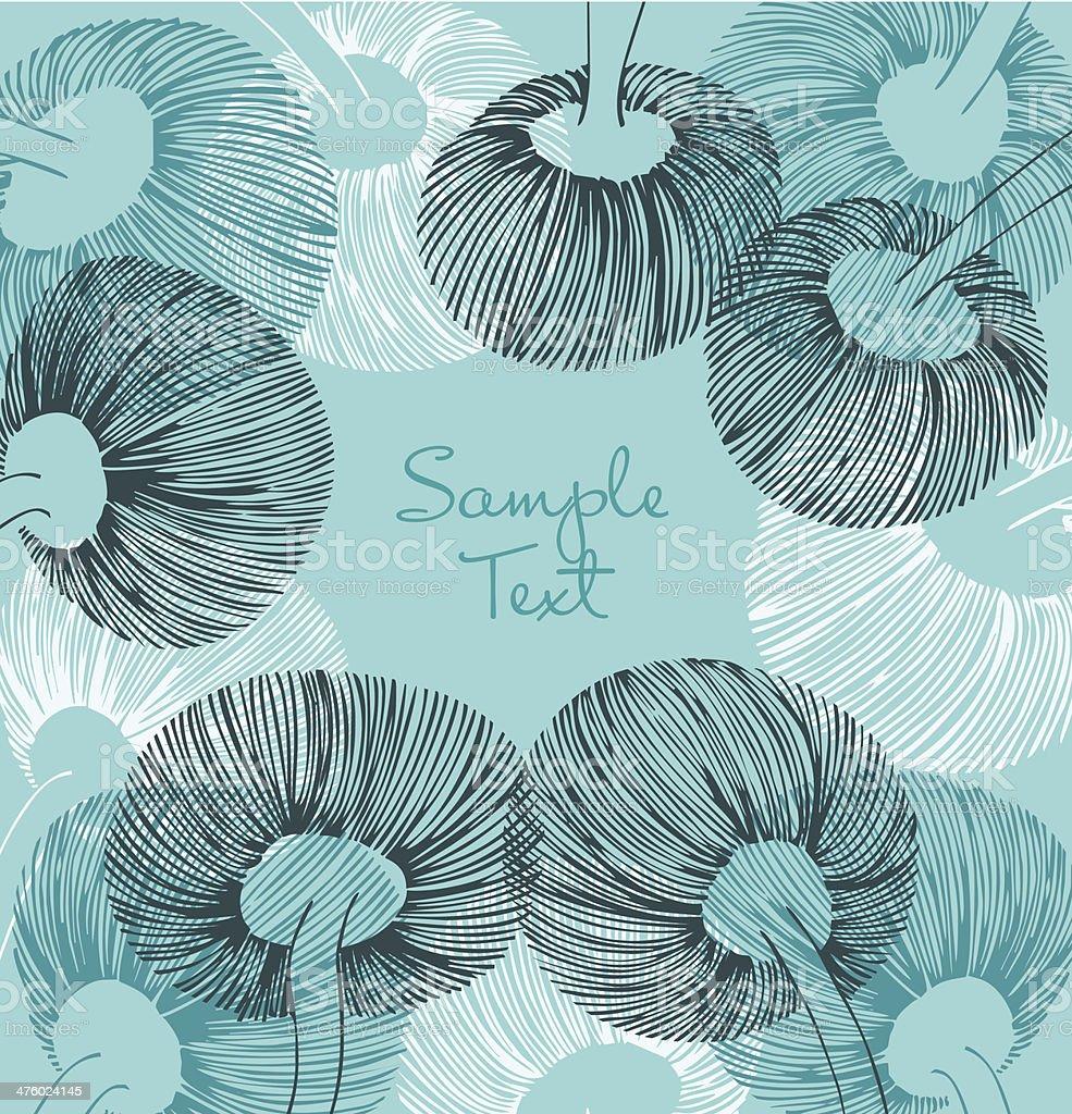 Blue, black and white vintage flower element royalty-free stock vector art