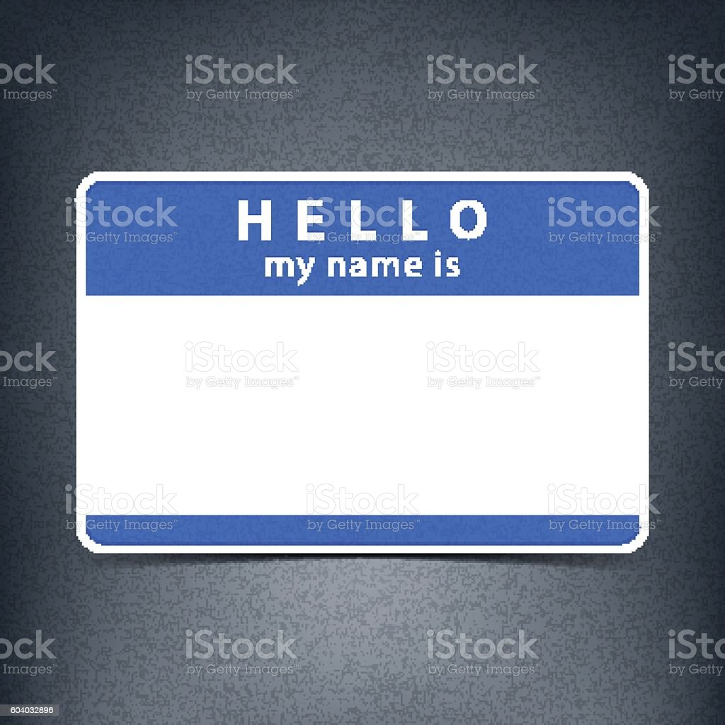 Blue blank tag sticker HELLO my name is vector art illustration