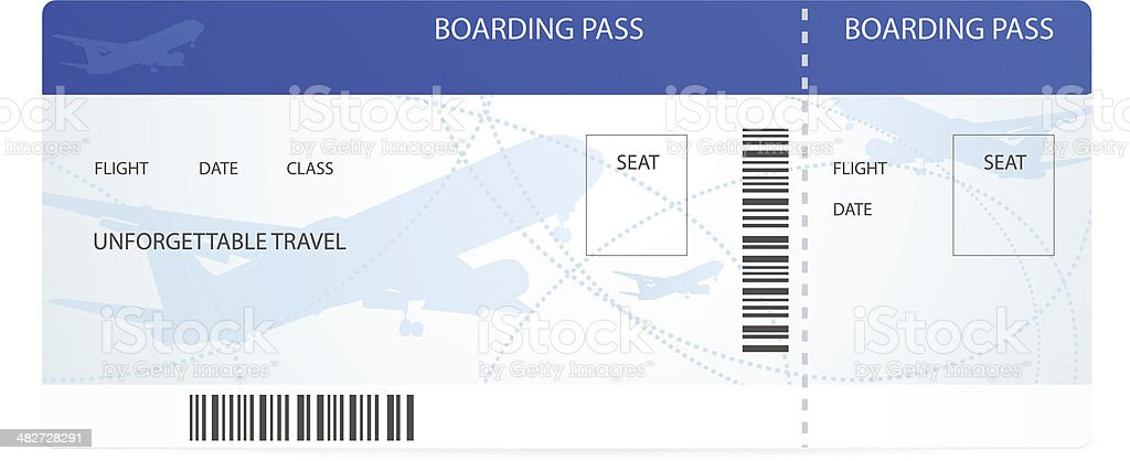 Blue boarding pass (ticket) with aircraft (airplane / plane) silhouette vector art illustration