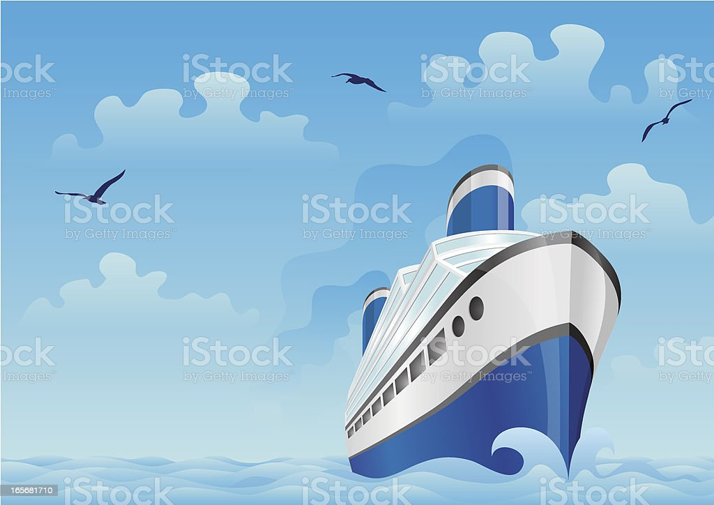 Blue boat in the sea royalty-free stock vector art