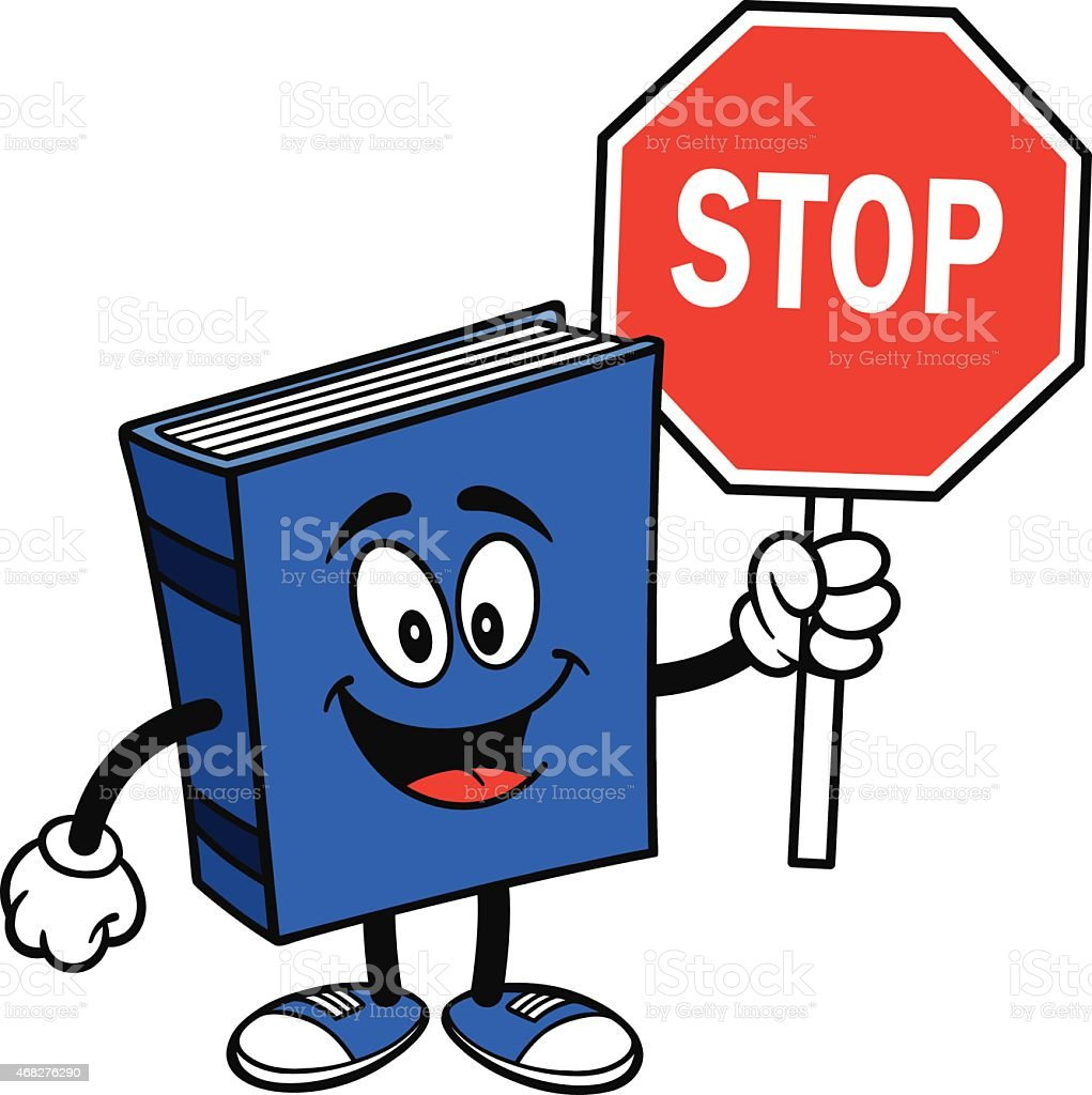 Blue Book with Stop Sign vector art illustration