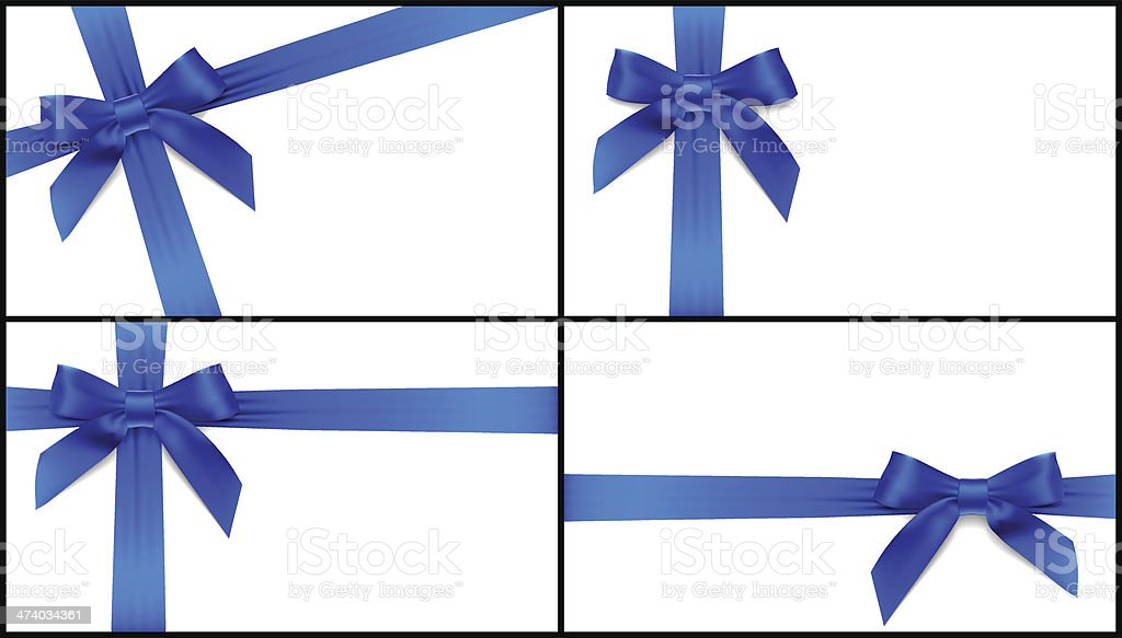 blue bow card vector art illustration