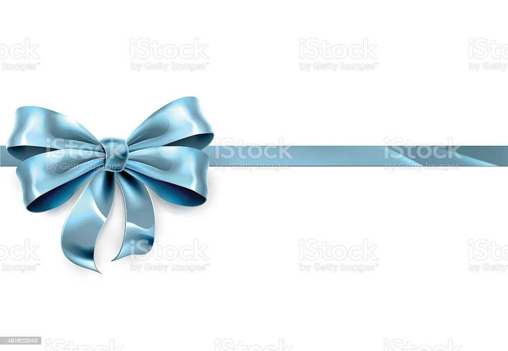 Blue Bow Gift Background vector art illustration