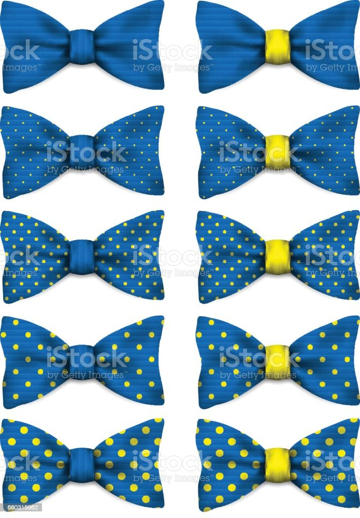 Blue bow tie with yellow dots set realistic vector illustration isolated on white vector art illustration