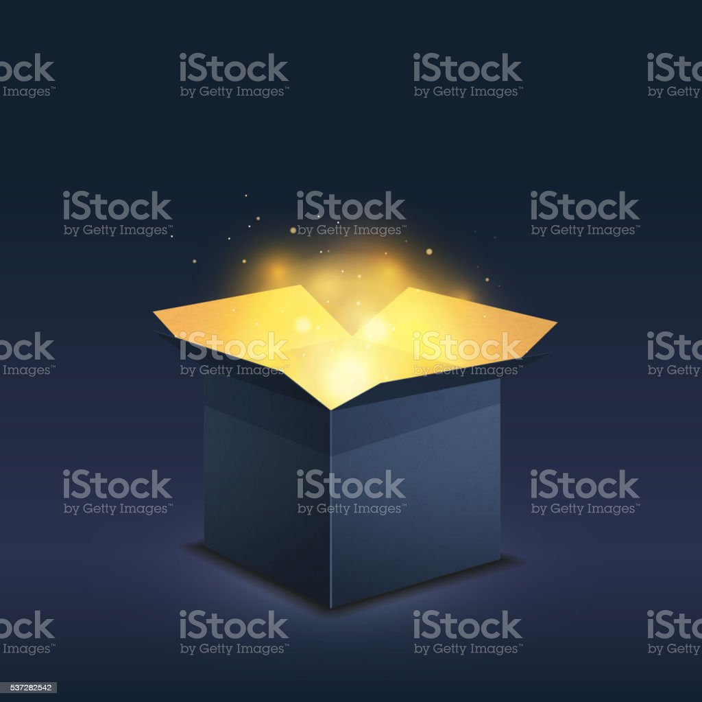 Blue box with magic golden light on dark vector art illustration