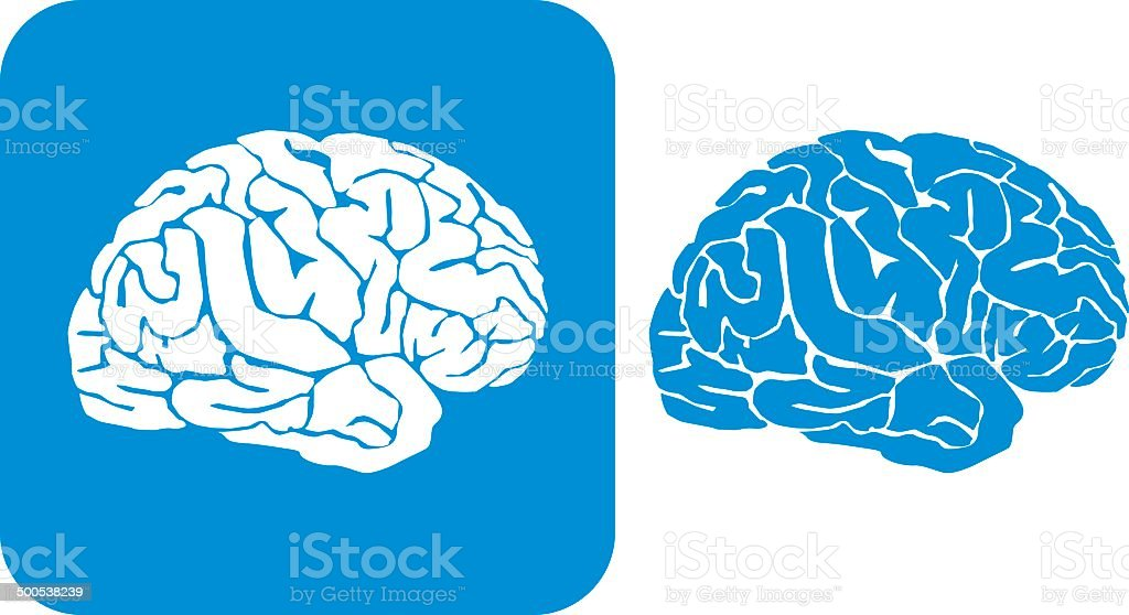 Blue Brain Icons vector art illustration