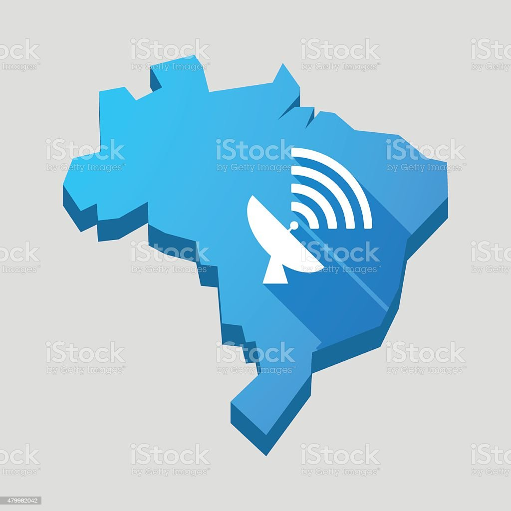 Blue Brazil map with a satellite dish vector art illustration