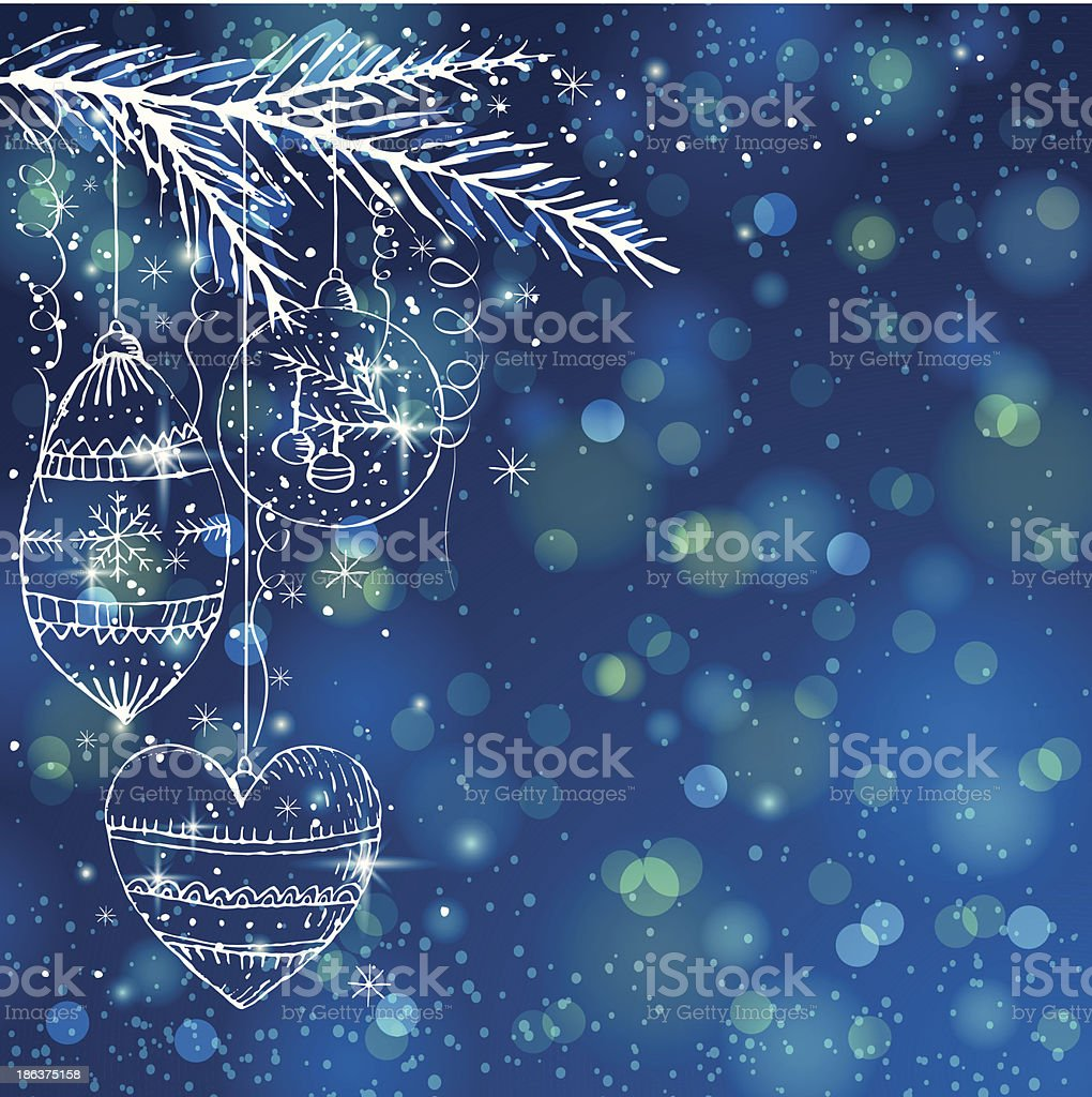 blue brightness background with christmas balls royalty-free stock vector art