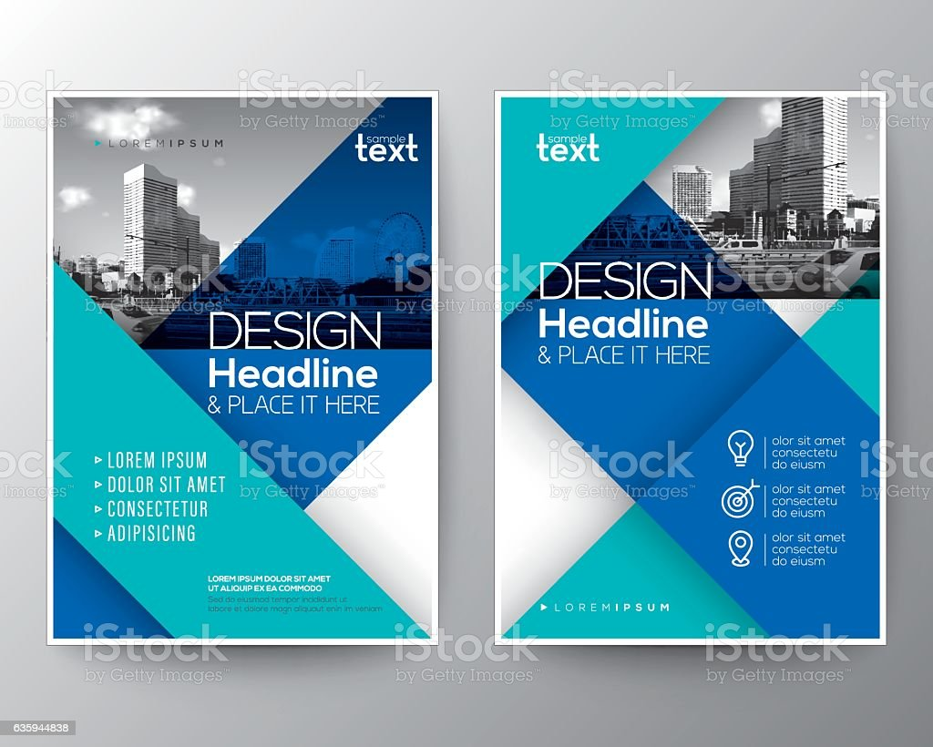 Blue Brochure annual report cover Flyer Poster design Layout template vector art illustration