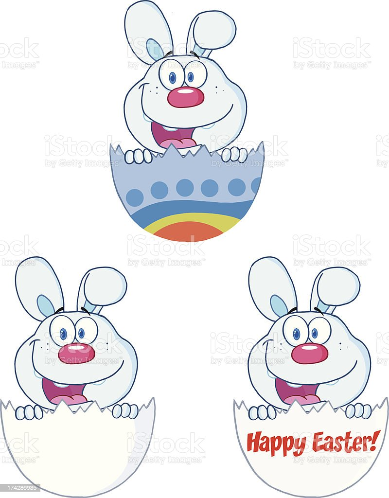 Blue Bunny Peeking Out Of An Easter Egg Collection royalty-free stock vector art
