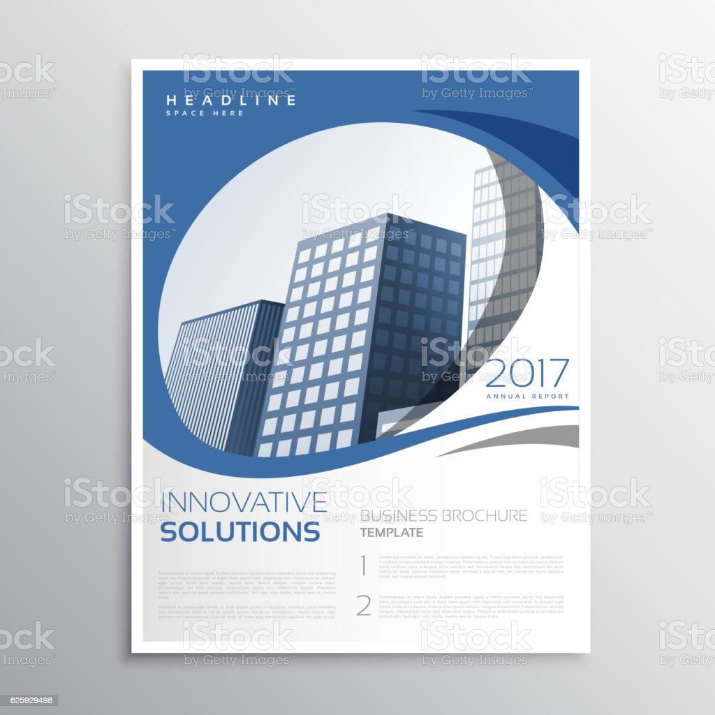 blue business flyer leaflet annual report cover page design stock 1 credit