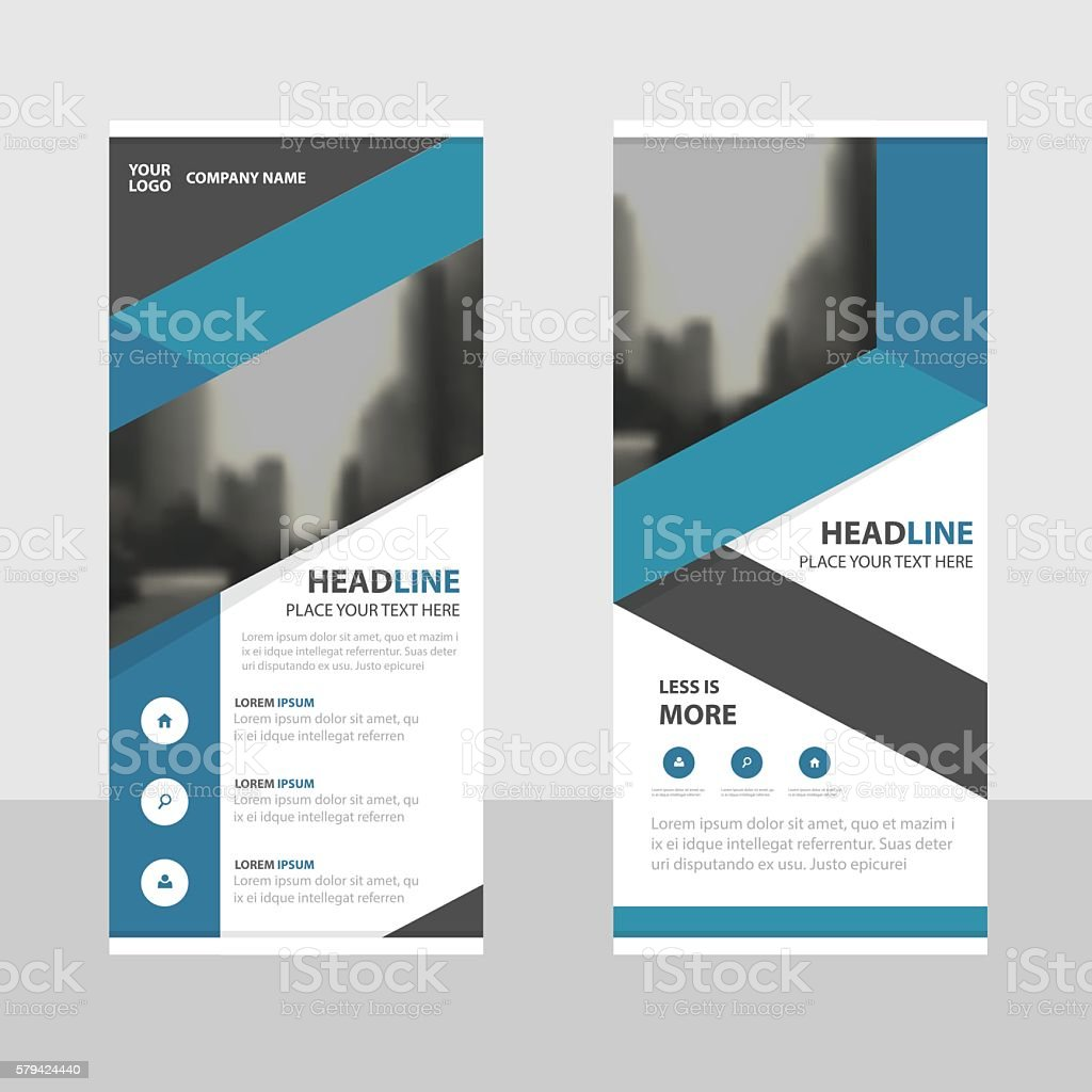 Design for roll up banner - Blue Business Roll Up Banner Flat Design Template Abstract Geometric Royalty Free Stock Vector