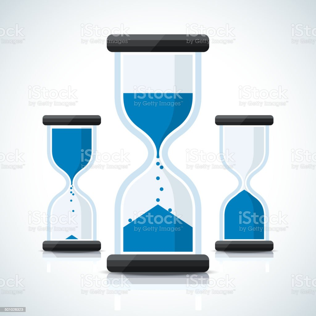 Blue business styled sand clock icons vector art illustration