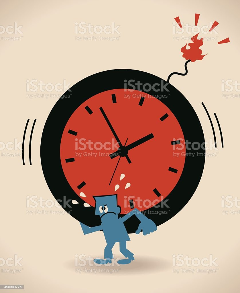 Blue businessman carrying (holding) big time clock bomb vector art illustration