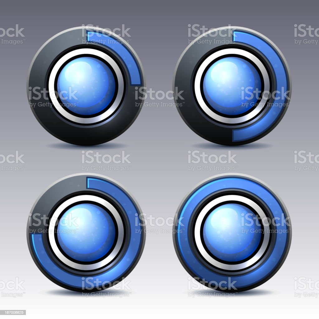 Blue button with digital timer. Vector. royalty-free stock vector art