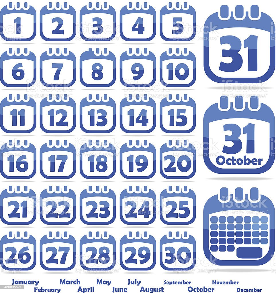 A blue calendar opened on the month of October vector art illustration