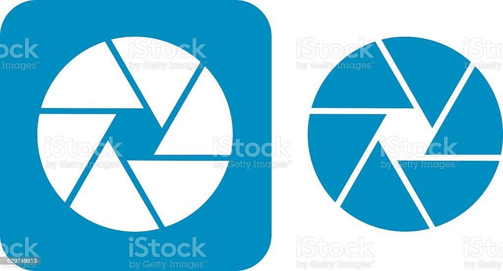 Blue Camera Shutter Icon vector art illustration