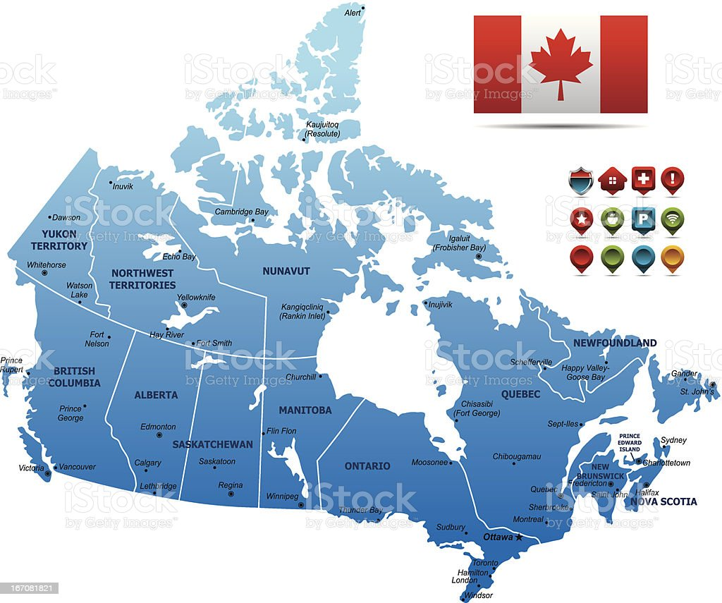 Blue Canada Map royalty-free stock vector art
