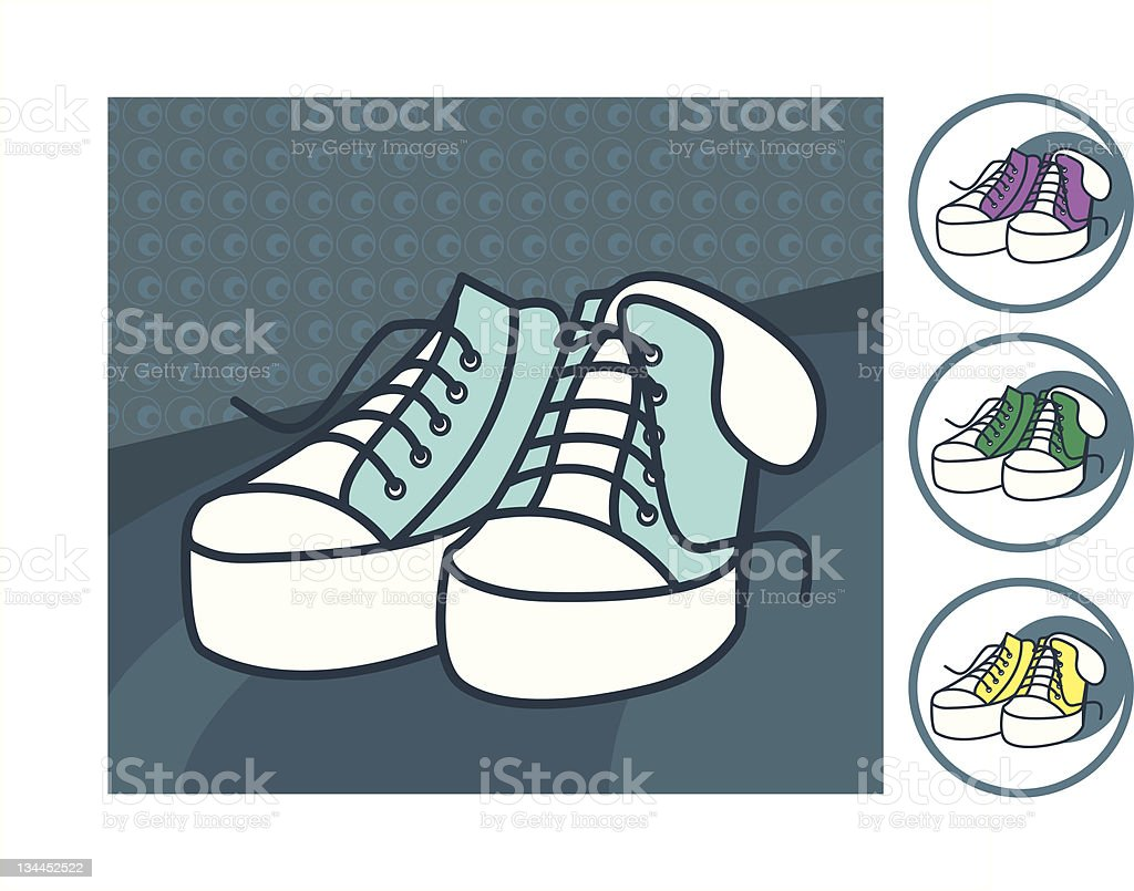 Blue Canvas Shoes royalty-free stock vector art