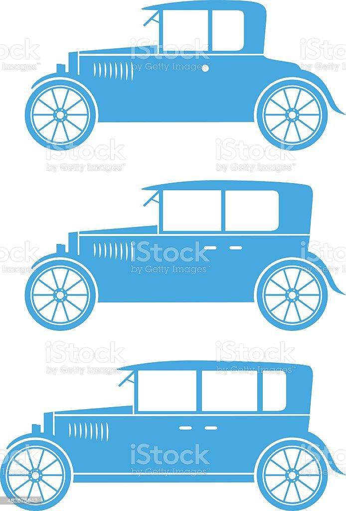 Blue car icons vector art illustration