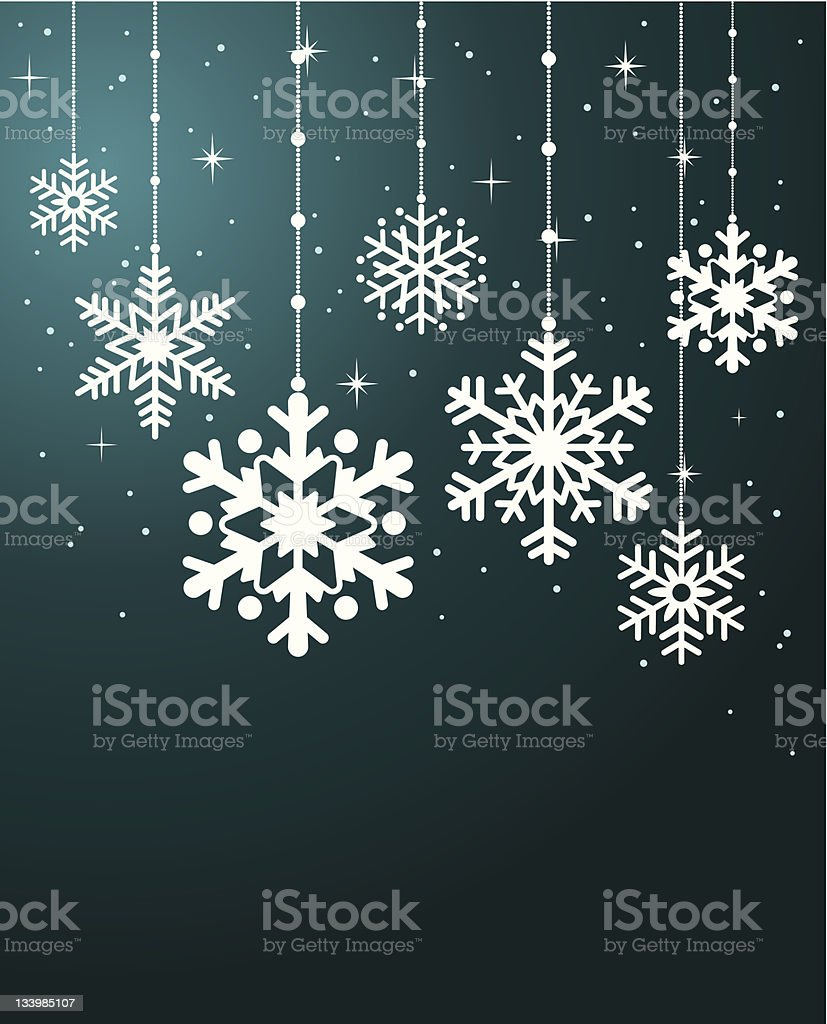 blue card with christmas snowflakes royalty-free stock vector art