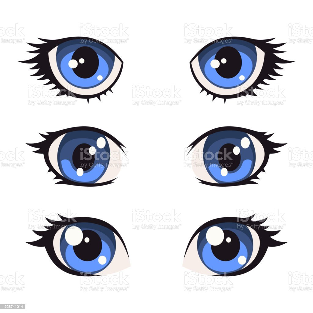 Blue Cartoon Anime Eyes Set Vector Stock Vector Art