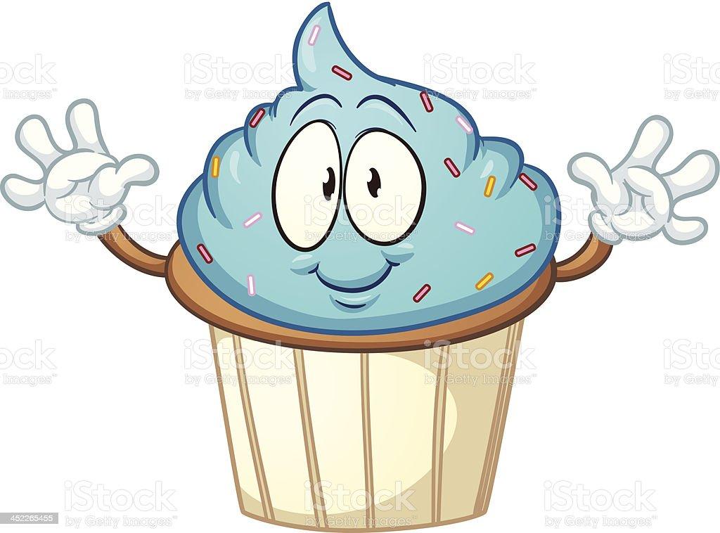 Blue cartoon cupcake royalty-free stock vector art