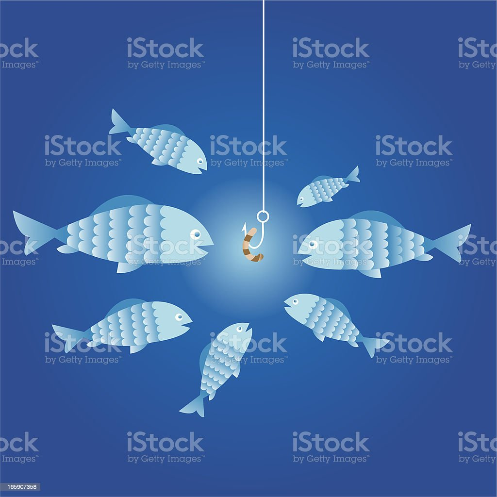 7 blue cartoon fish surrounding a worm on a fishing hook royalty-free stock vector art