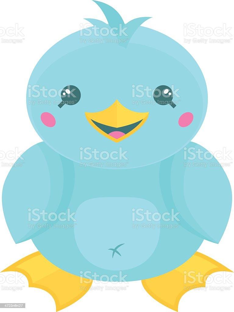 Blue Cartoon Kawaii bird royalty-free stock vector art