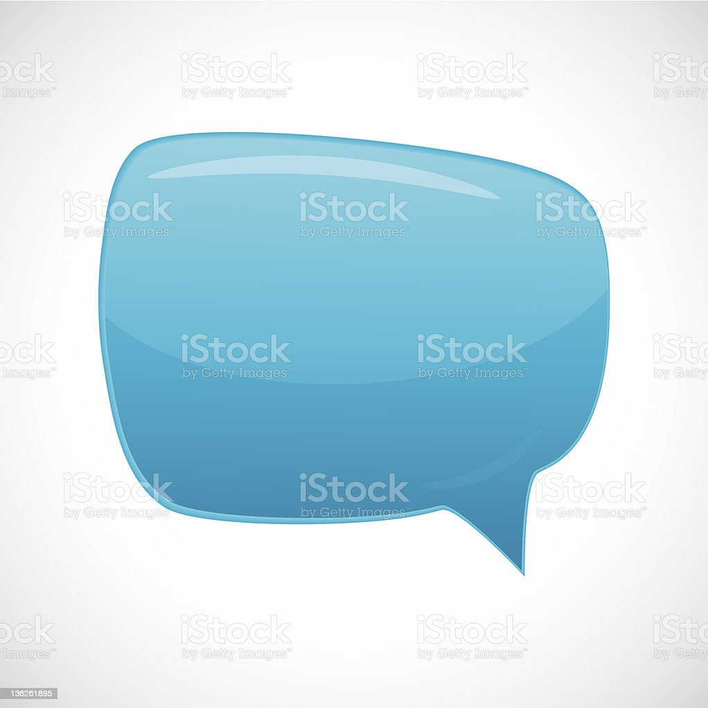Blue cartoon speech bubble over a white background royalty-free stock vector art