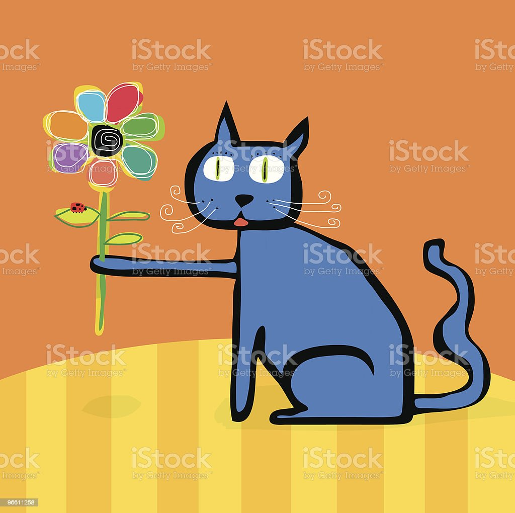 blue Cat Flower Lady Bug sitting on table royalty-free stock vector art