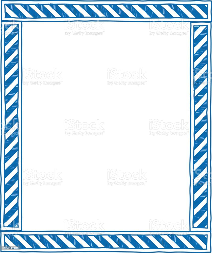 Blue Caution Frame vector art illustration