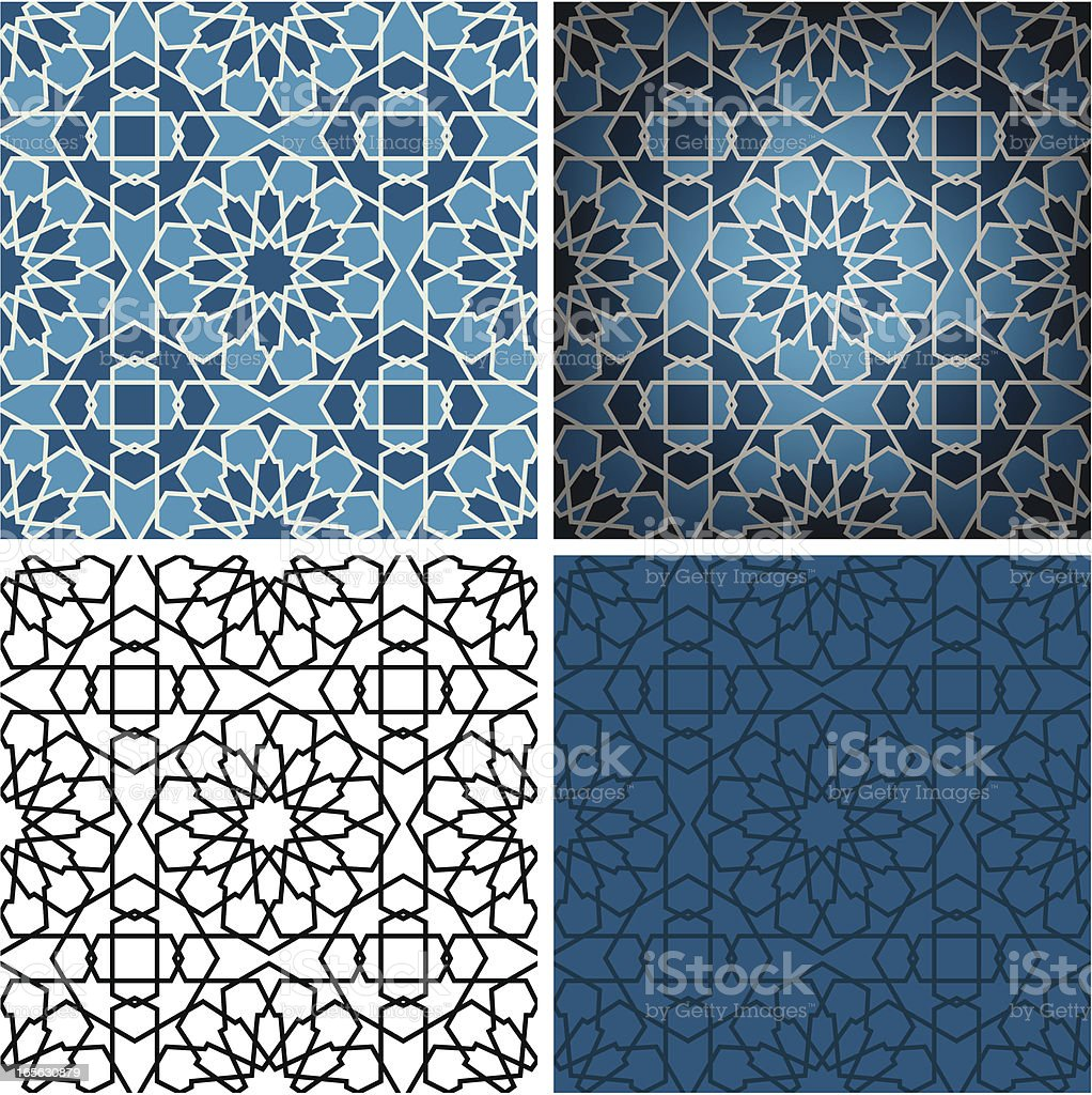 Blue Ceramic Islamic tile vector art illustration