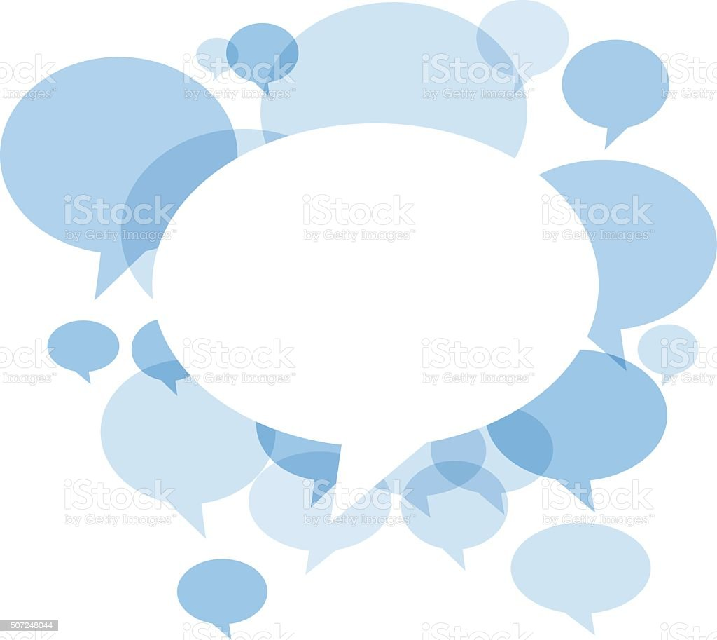 Blue Chat bubbles on white background vector art illustration