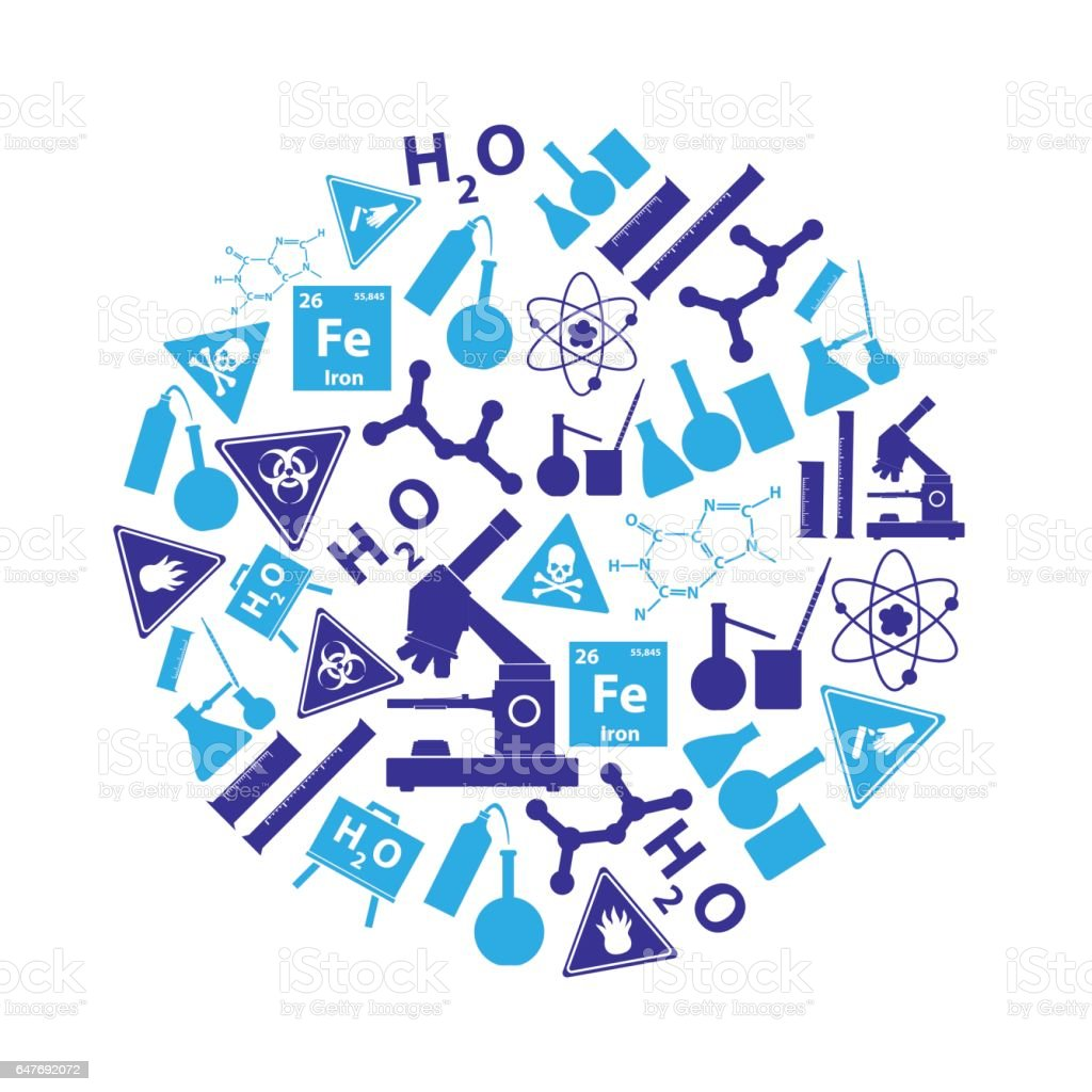 blue chemistry theme icons set in circle eps10 vector art illustration